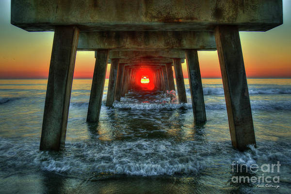 Wall Art - Photograph - Resplendent Red Dot Tybee Island Pier Sunrise Seascape Art by Reid Callaway