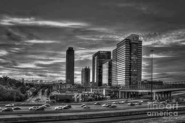 Photograph - Resplendent Sunset Reflections B W Midtown Atlantic Station 17th Street Bridge  by Reid Callaway