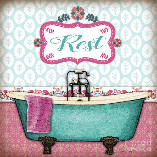 Tub Wall Art - Painting - Rest Bath Art-jp3529 by Jean Plout
