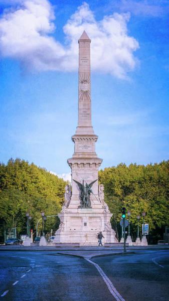 Photograph - Restauradores Obelisk Lisbon Portugal by Joan Carroll