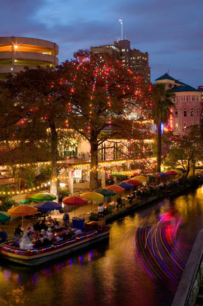 Sidewalk Cafe Photograph - Restaurant Along A River Lit by Panoramic Images