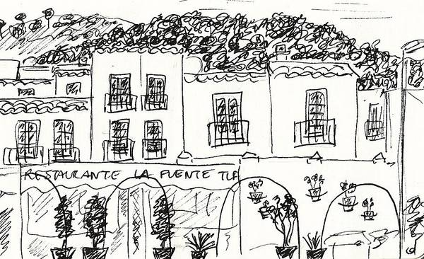 Drawing - Restaurante La Fuente In Mijas by Chani Demuijlder