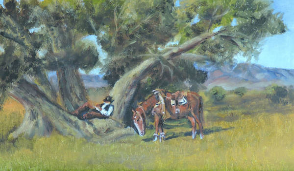 Resting Cowboy Painting A Study Art Print