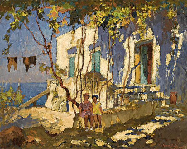 Russian Impressionism Wall Art - Painting - Resting In The Shade by Konstantin Ivanovich Gorbatov