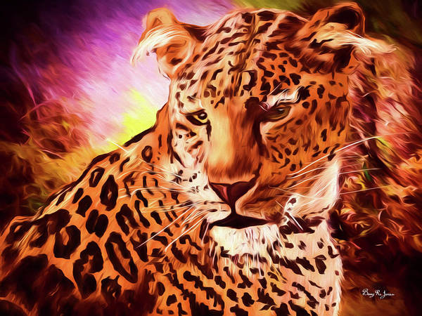 Digital Art - Resting Leopard by Barry Jones