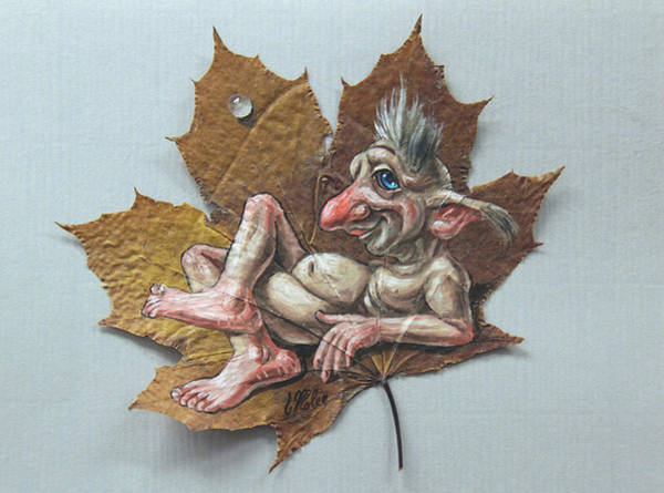 Painting - Resting Troll On A Maple Leaf by Victor Molev