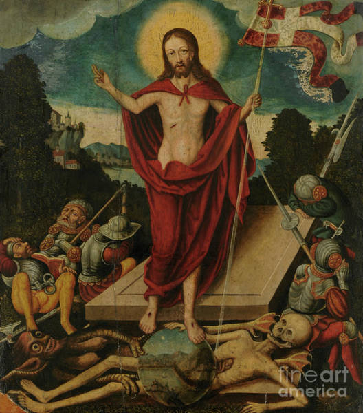 Cranach Painting - Resurrection Of Christ And The Triumph Over Death And Devil, 1537  by Lucas Cranach