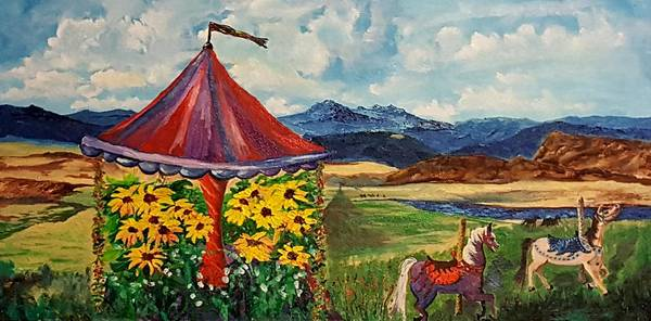 Painting -  Retired Carousel Near Belt Montana      82 by Cheryl Nancy Ann Gordon