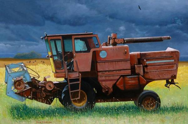 Wall Art - Painting - Retired Combine Awaiting A Storm by Doug Strickland