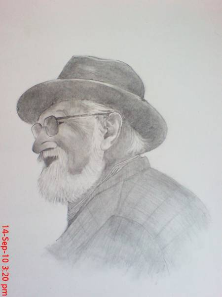Singh Drawing - Retired Gangster by Jaiteg Singh