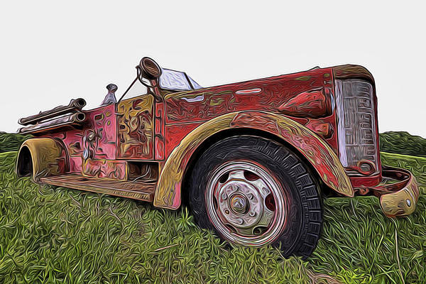 Vintage Fire Truck Painting - Retired Hero by Joe Sparks
