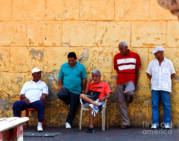 Posterize Photograph - Retired Men And Yellow Wall Cartegena by Thomas Marchessault
