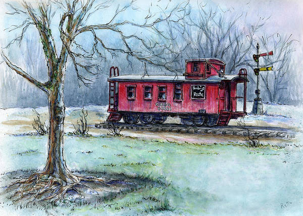 Red Caboose Painting - Retired Red Caboose by Retta Stephenson