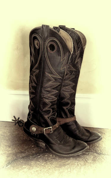 Mixed Media - Retired Rodeo Boots by Pamela Walton