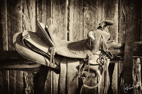 Cowboy Photograph - Retired Saddle by Christine Hauber