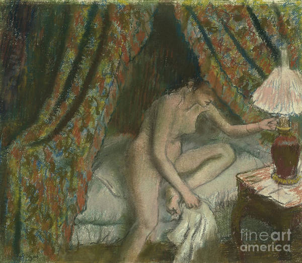 Sensual Drawing - Retiring by Edgar Degas