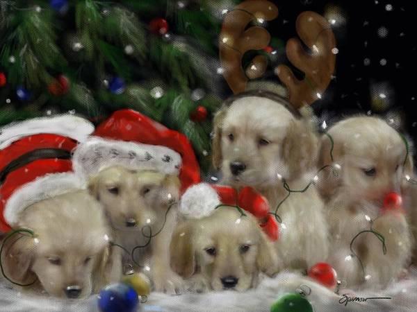 Wall Art - Painting - Retriever Christmas by Mary Sparrow