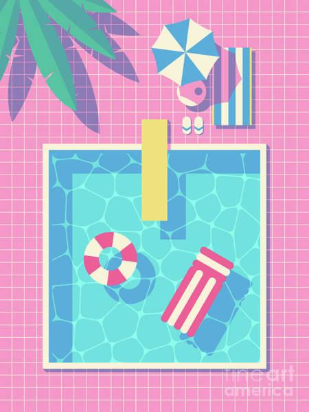 Wall Art - Digital Art - Retro 80s Swimming Pool by Ivan Krpan