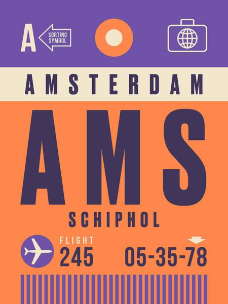 Netherlands Digital Art - Retro Airline Luggage Tag - Ams Amsterdam Schiphol by Ivan Krpan