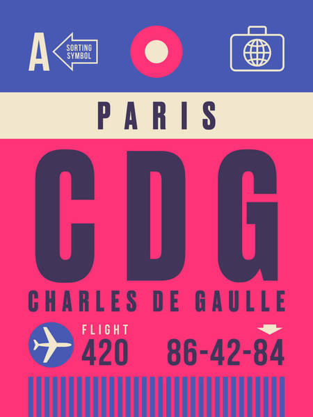 Wall Art - Digital Art - Retro Airline Luggage Tag - Cdg Paris Charles De Gaulle by Ivan Krpan
