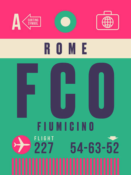 Wall Art - Digital Art - Retro Airline Luggage Tag - Fco Rome Fiumicino by Ivan Krpan