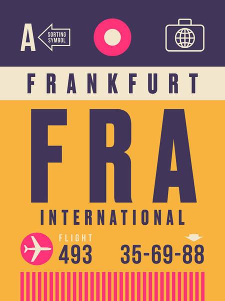 Frankfurt Wall Art - Digital Art - Retro Airline Luggage Tag - Fra Frankfurt by Ivan Krpan