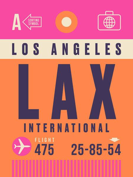 Wall Art - Digital Art - Retro Airline Luggage Tag - Lax Los Angeles by Ivan Krpan