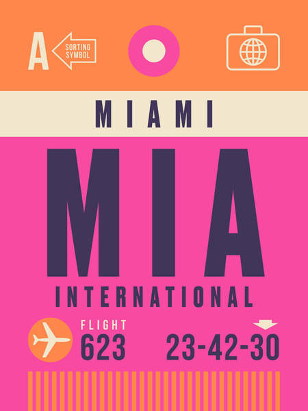 Miami Digital Art - Retro Airline Luggage Tag - Mia Miami by Ivan Krpan