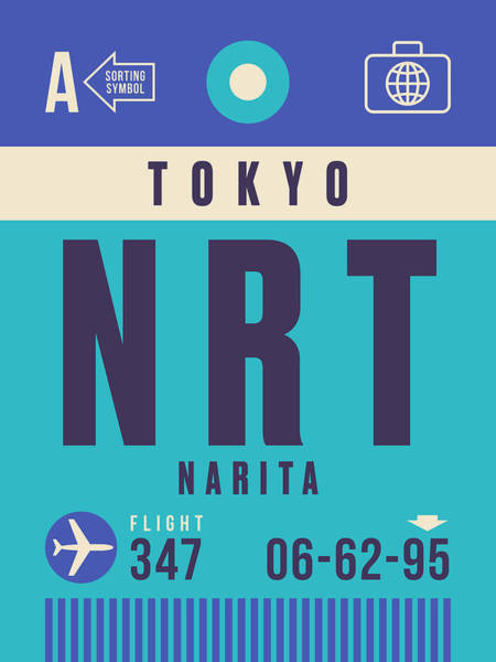 Wall Art - Digital Art - Retro Airline Luggage Tag - Nrt Tokyo Narita by Ivan Krpan