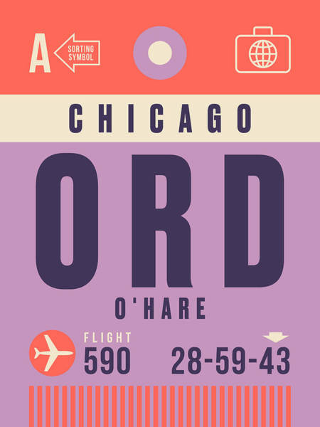 Wall Art - Digital Art - Retro Airline Luggage Tag - Ord Chicago O'hare by Ivan Krpan