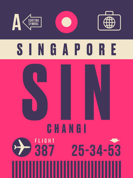 Wall Art - Digital Art - Retro Airline Luggage Tag - Sin Singapore Changi by Ivan Krpan