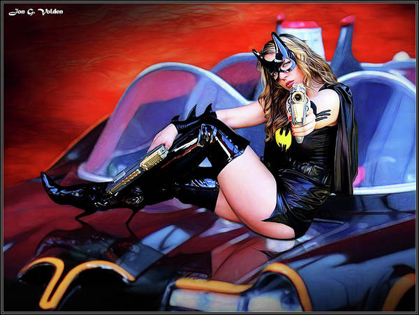 Photograph - Retro Bat Woman On Car by Jon Volden