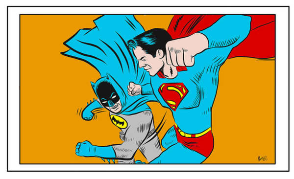 Wall Art - Digital Art - Retro Batman V Superman by Antonio Romero
