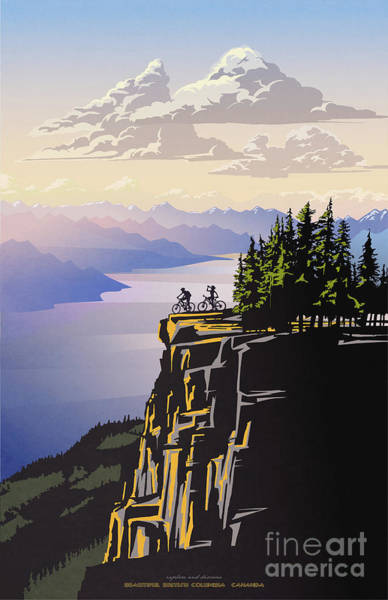 Bike Digital Art - Retro Beautiful Bc Travel Poster by Sassan Filsoof
