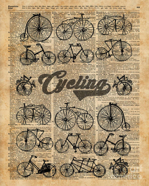 Wall Art - Digital Art - Retro Bicycles Vintage Illustration Dictionary Art by Anna W