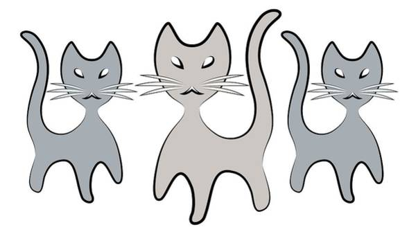 Digital Art - Retro Cat Graphic In Grays by MM Anderson