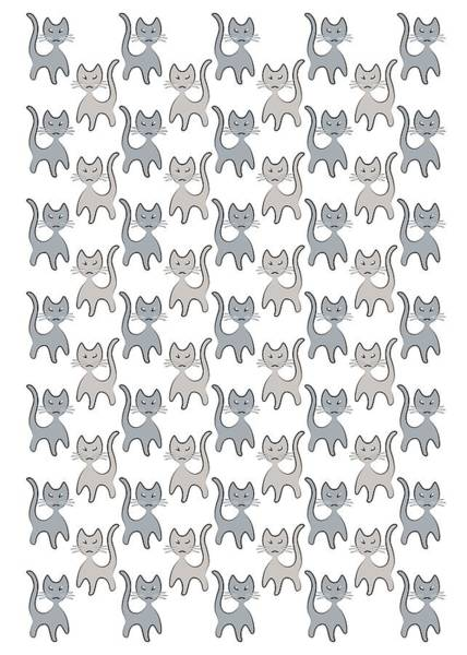 Digital Art - Retro Cat Graphic Pattern In Grays by MM Anderson