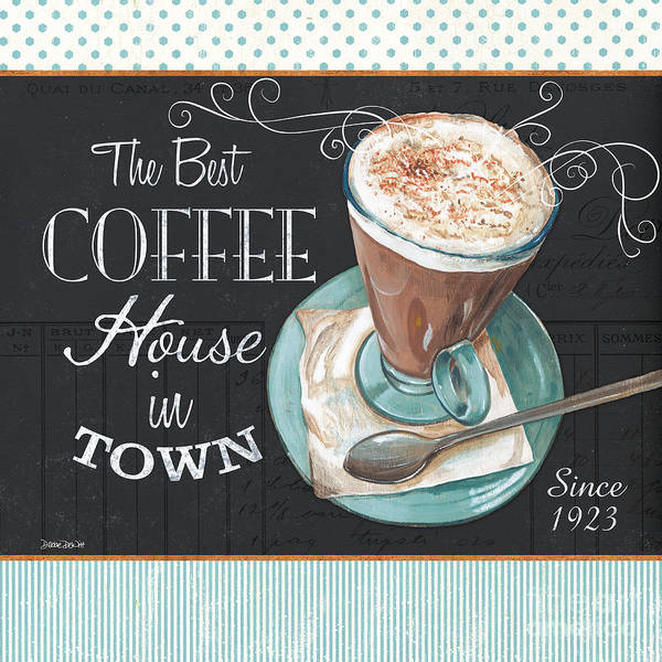 Polka Wall Art - Painting - Retro Coffee 2 by Debbie DeWitt