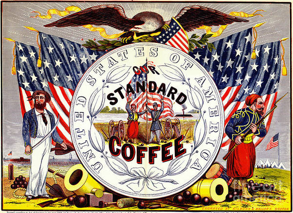 Wall Art - Photograph - Retro Coffee Label 1862 by Padre Art