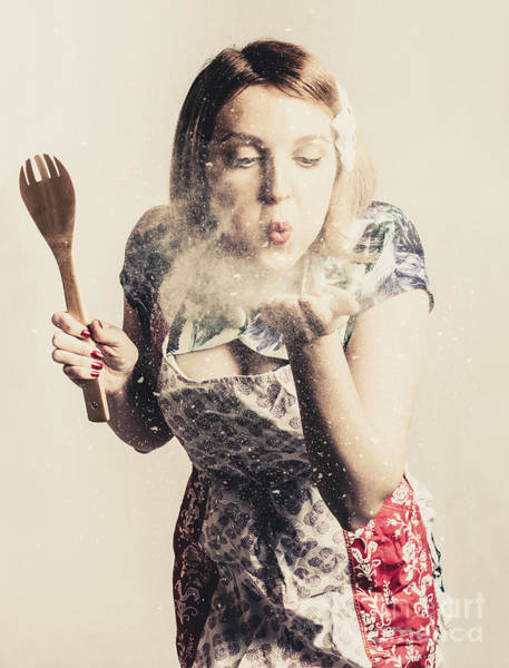 Photograph - Retro Cooking Woman Giving Recipe Kiss by Jorgo Photography - Wall Art Gallery