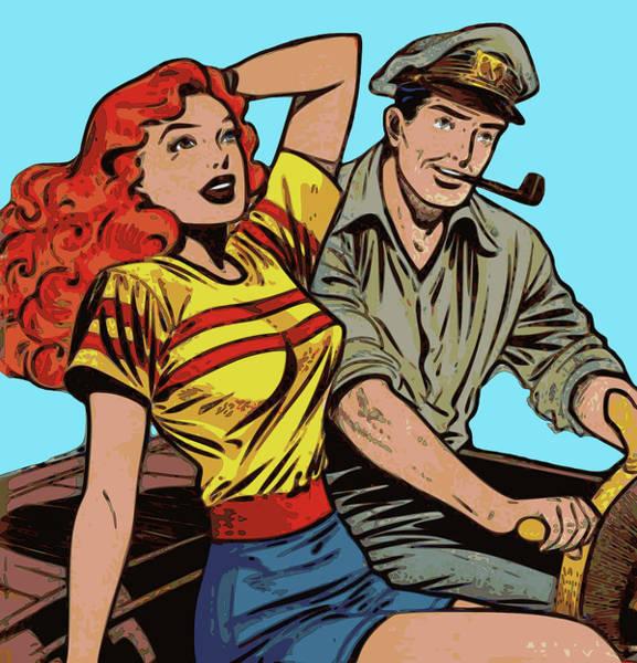 Digital Art - Retro Couple On Boat Comic Style by Joy McKenzie