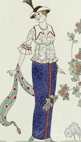 Scarf Drawing - Retro Design For A Summer Dress by Georges Barbier