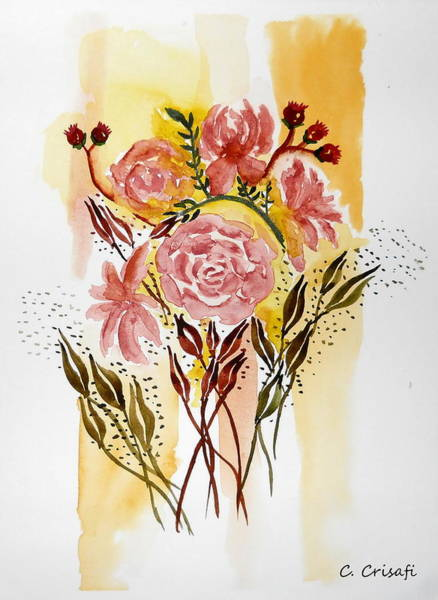 Painting - Retro Florals by Carol Crisafi