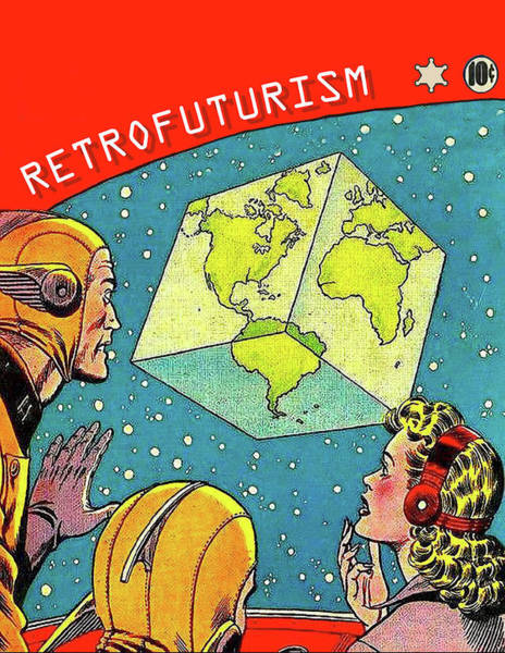 Cube Painting - Retro Futurism, Misery Of A Cube Planet Earth by Long Shot