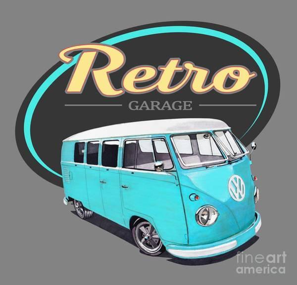 Wagon Digital Art - Retro Garage Bus by Paul Kuras