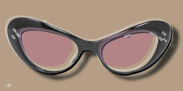 Painting - Retro Glasses Funky Pop Pink Rose Brown by Tony Rubino