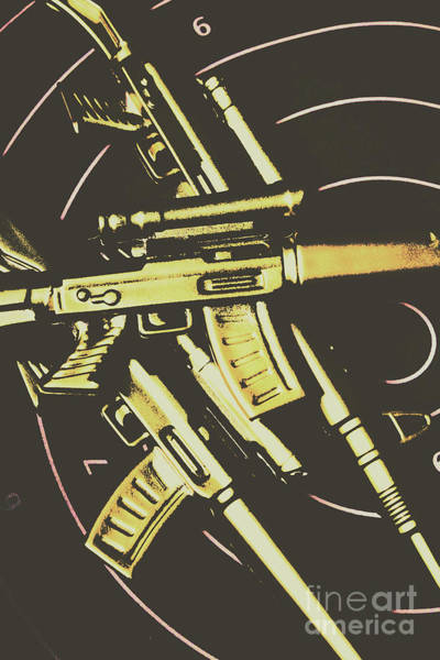 Dark Background Photograph - Retro Guns And Targets by Jorgo Photography - Wall Art Gallery
