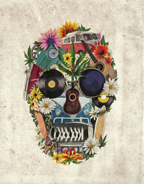 Psychedelic Image Painting - Retro Hippie Skull by Bekim Art
