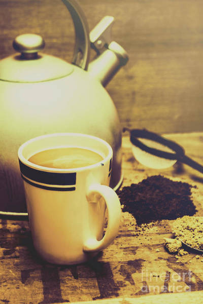 Indoor Photograph - Retro Kettle With The Mug Of Tea by Jorgo Photography - Wall Art Gallery