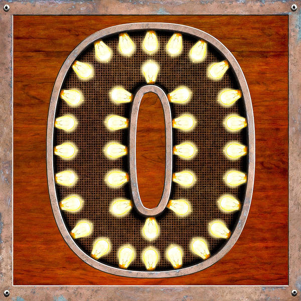 Retro Marquee Lighted Letter O Art Print by Mark Tisdale